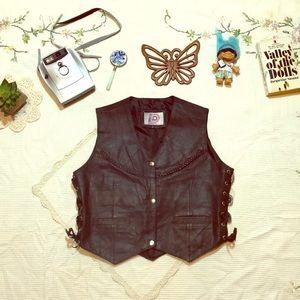 🔥FIERCE Vintage Biker Babe Black Leather Vest!🔥